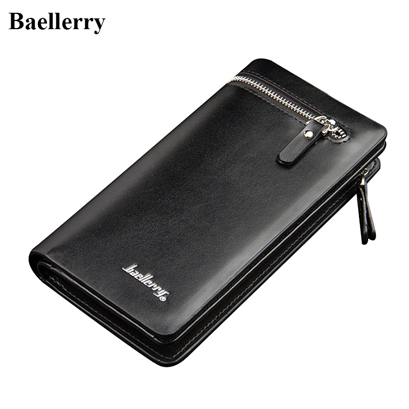 Business Design Leather Long Wallets Men High Quality Famous Brand Zipper Purses Male Credit Card Holder Phone Pocket Money Bags 2016 famous brand new men business brown black clutch wallets bags male real leather high capacity long wallet purses handy bags