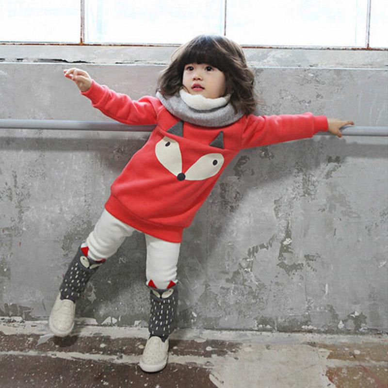 все цены на 1 2 3 4 Year Baby Kids Clothes Thick Warm Autumn Winter Children Clothing Set Cartoon Shirts Pants 2pcs Casual Girls Suits