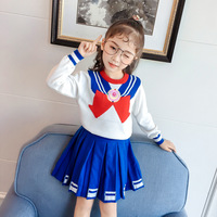 Baby Girl Boutique Set Preppy Style Sailor Moon Bow Knitted Tops+ Blue Pleated Skirt Suit Girls Knitting Clothes kids 2 8Y CA350