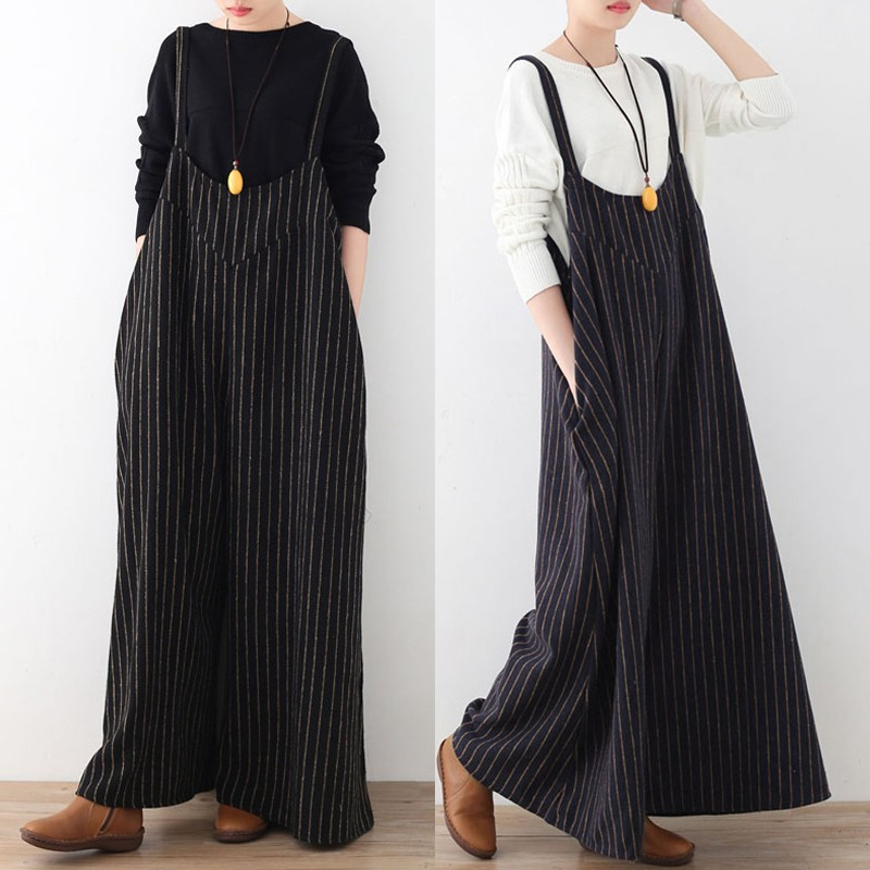 3d29c1c15db Celmia Rompers Women Jumpsuit 2018 Autumn Striped Playsuit Vintage Backless  Oversized Casual Loose Playsuits Plus Size Overalls-in Jumpsuits from  Women s ...
