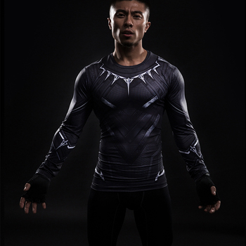 Black Panther 3D Printed T-shirts Men Compression Shirt Captain America long Sleeve Cosplay Halloween Costume For Men Tops Male