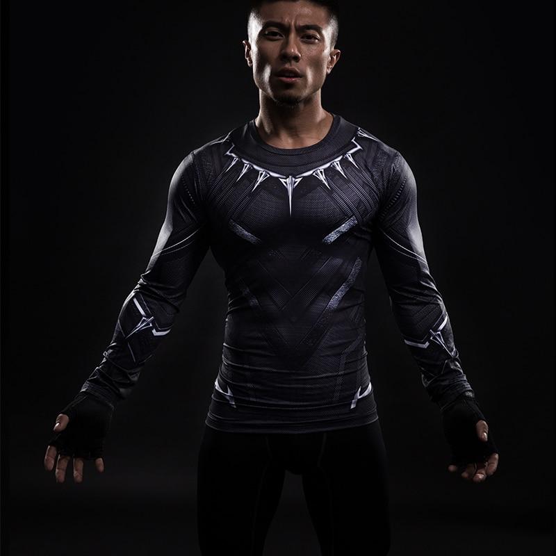 Black Panther 3D imprimé T-shirts hommes chemise de Compression Captain America à manches longues Cosplay Halloween Costume pour hommes hauts homme