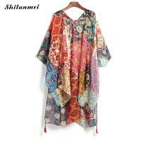 Oranje Vrouwen Lange Vest gedrukt bloemen beach coverup jurk gedrukt bloemen Cover Ups sarong jurk voor badmode vesten