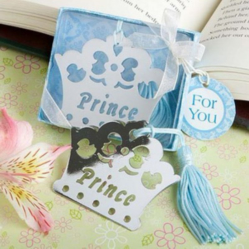 free baby boy shower favors blue crown themed metal