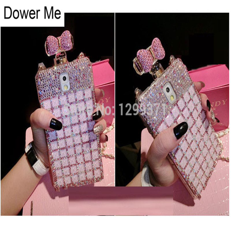 Mode Volledige Bling Diamant Roze Strik Parfumflesje Lange Keten Case Cover Voor Samsung Galaxy Note 10 9 8 S10E S10 S9 S8 Plus