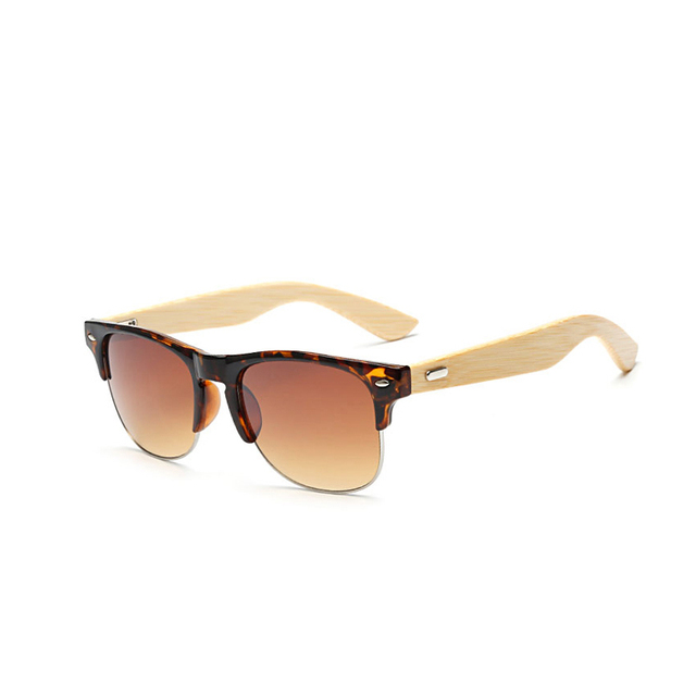 Vintage Semi-rimless Bamboo Sunglasses