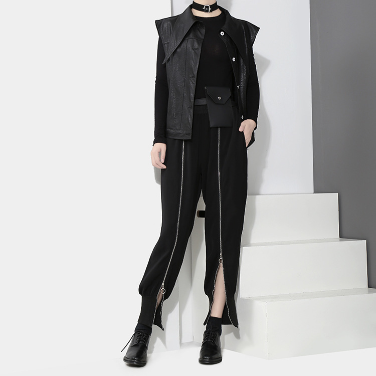 [EAM] 2018 new spring Zipper Decoration high waist solid color black green loose pants women trousers fashion all-match JC58801 11
