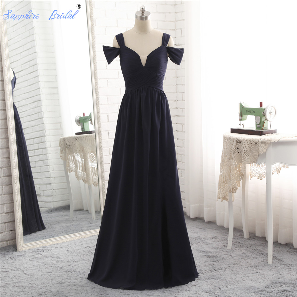 Sapphire Bridal 2018 New Navy Blue Formal Evening Gowns Simple A Line Off The Shoulder Long Formal Evening Dress