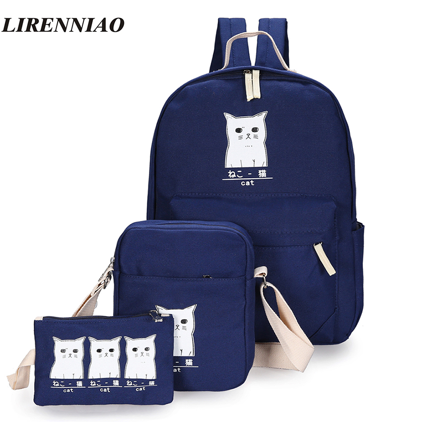 Cute Cats Backpack Fashion 3 Sets Backpack Female Preppy Style Backpacks For Teenage Girls School Bags