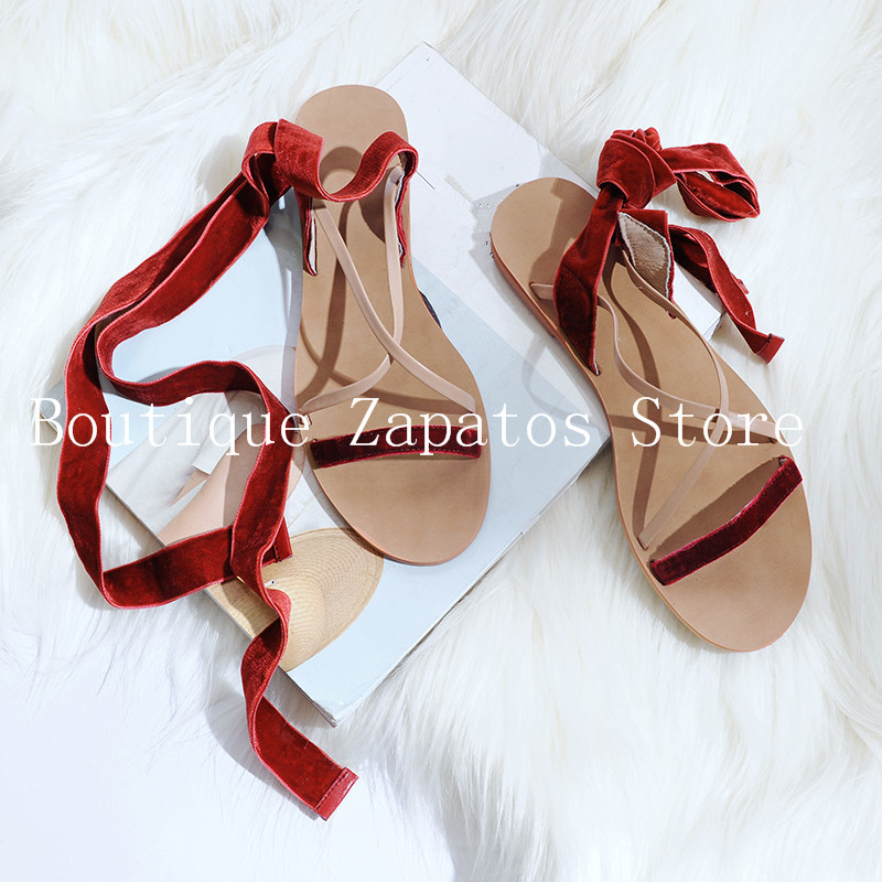 94bf632952cb6 Rome Cross Ankle Strap Round Toe Flat Comfortable Women Sandals Op en Toe  Solid Concise Narrow Band Summer Beach Casual Sandals-in Women s Sandals  from ...