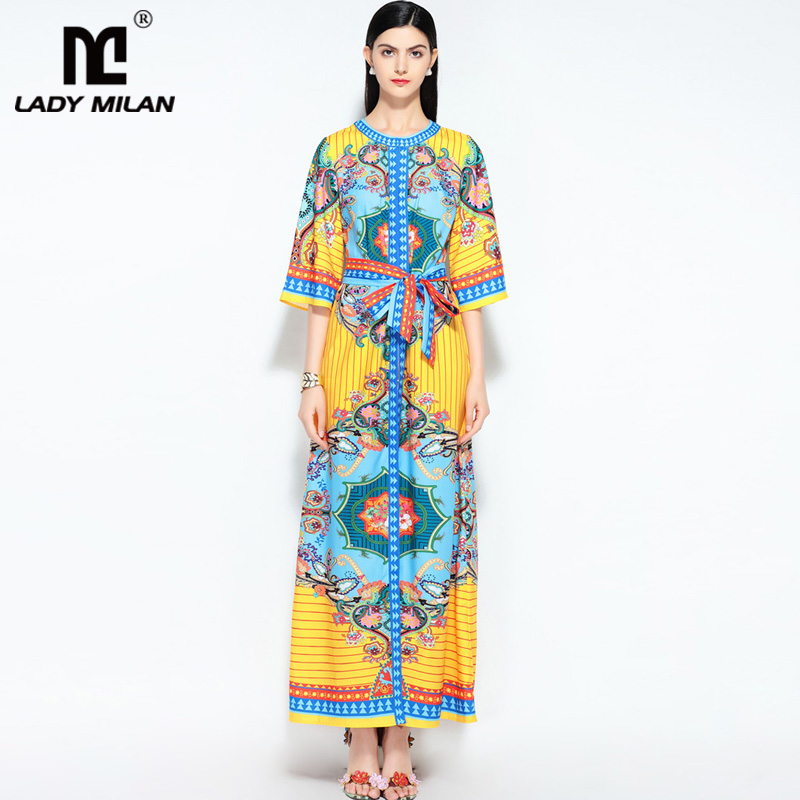 New Arrival Womens O Neck 3/4 Sleeves Floral Printed Sash Belt Loose Design Fashion Long Casual Summer Runway Dresses