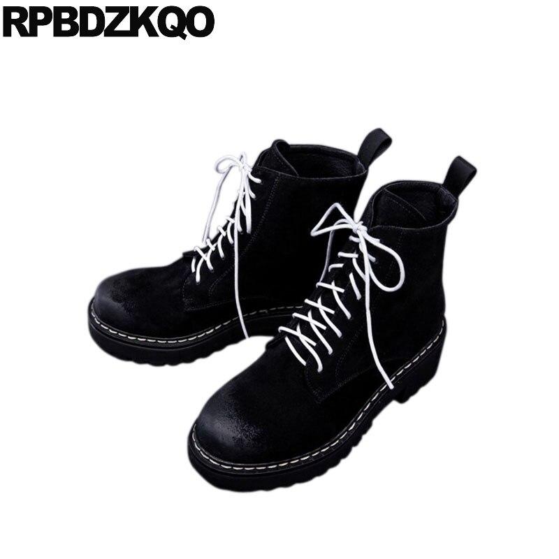 Chunky Negro Mujeres Combate Cuero Punta Piel Zapatos Alto Up Militar Talón Del Invierno Corto De Ronda Suede 2018 Lace Genuino Botines qxOtB0g
