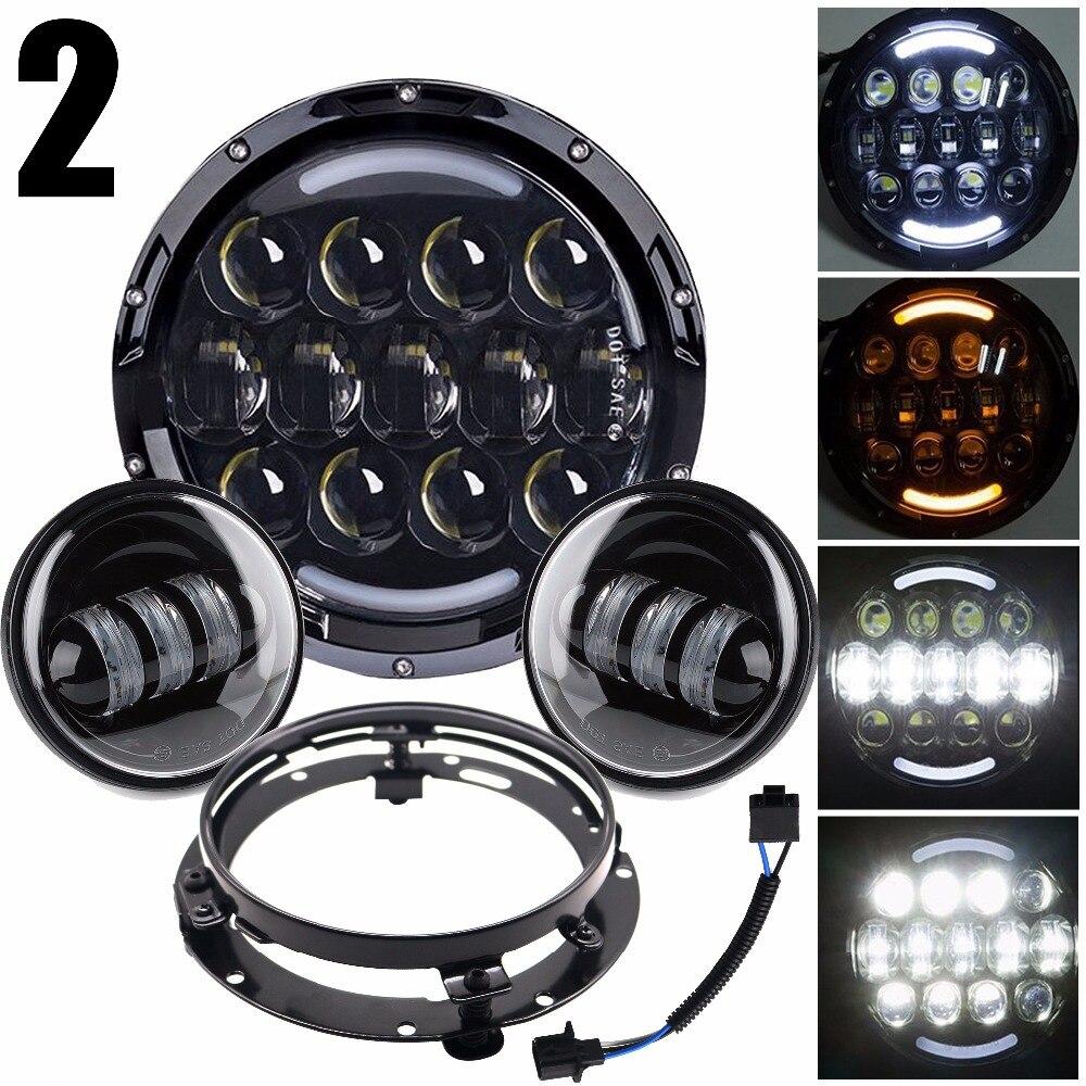 105w Harley Daymaker 7 White halo LED Headlamp+4 1/2 4.5 White halo Passing Lights+ Bracket Adapter Ring For Harley Davidson halo volume 2 escalation