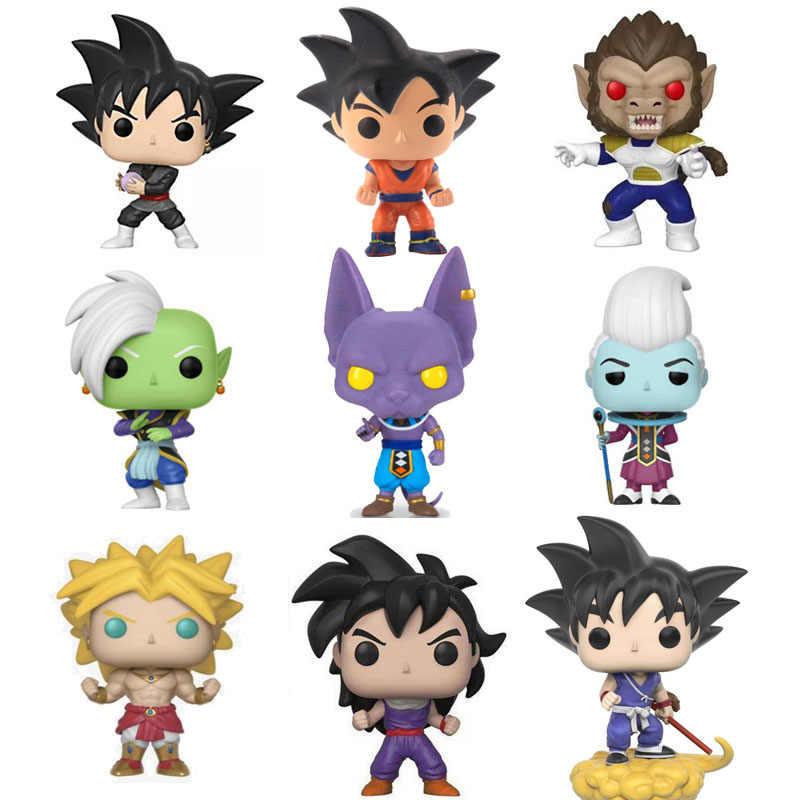 Funko pop amine dragon ball super saiyan broly vegeta goku whis beerus pvc figura de ação modelo brinquedos para crianças presente aniversário