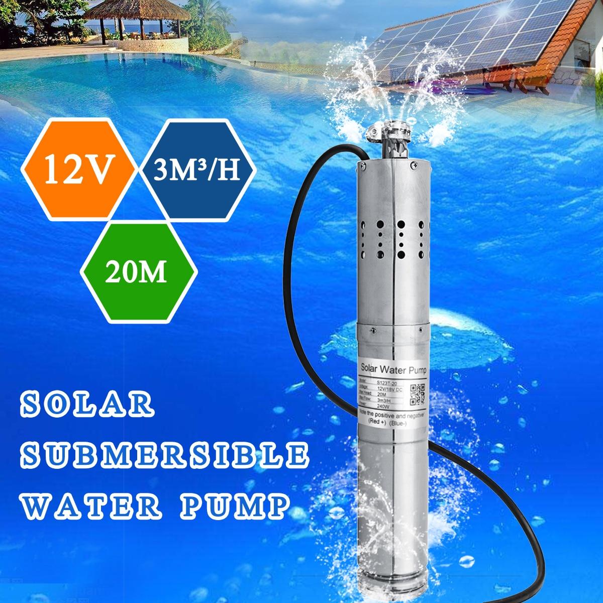 12 В 3m3/ч бесщеточный Нержавеющаясталь Солнечный винт погружной водяной насос сельское хозяйство для глубокой хорошо водоснабжения