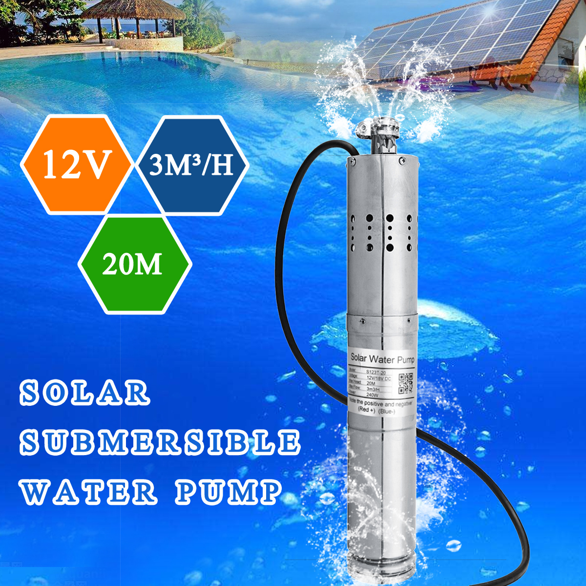 12V 3m3/h Brushless Stainless Steel Solar Screw Submersible Water Pump Agriculture Farm for Deep Well Home Water Supply