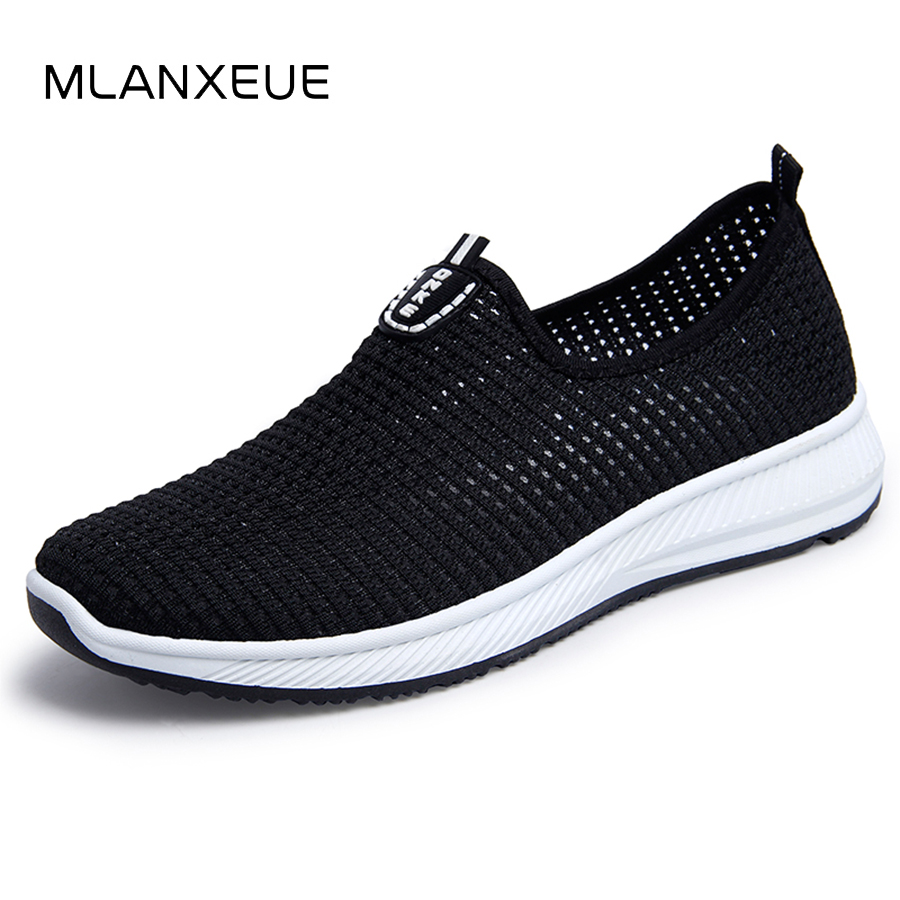 MLANXEUE Fashion Breathable Mesh Men Shoes Non-slip Rubber Sole Man Shoes 2018 Summer Autumn Plus Size 39-44 Male Black Shoes