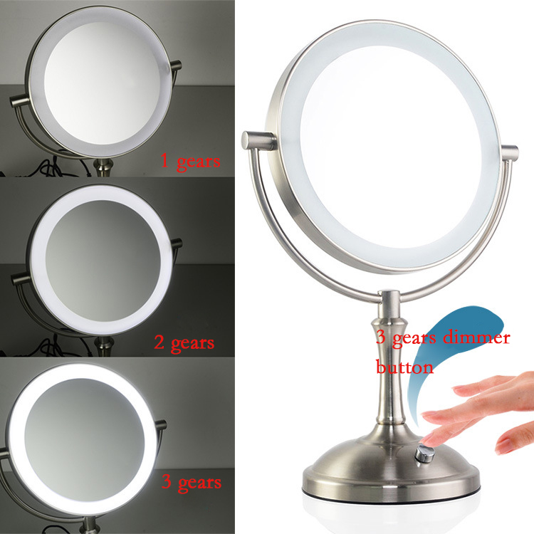 Brushed nickle 8 Inch Makeup Mirror 2-Face Metal Mirror 3X 5X 10X Magnifying Cosmetic Mirror LED Lamp Adjust the Brightness 8 inch fashion high definition desktop makeup mirror 2 face metal bathroom mirror magnifying 360 degree rotating mirror