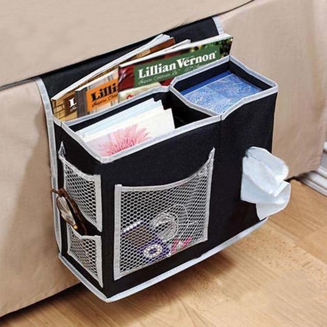 6 Pockets Bedside Black Storage Hanging Bags Organizer Mattress Book Phone Holder Pouches 35