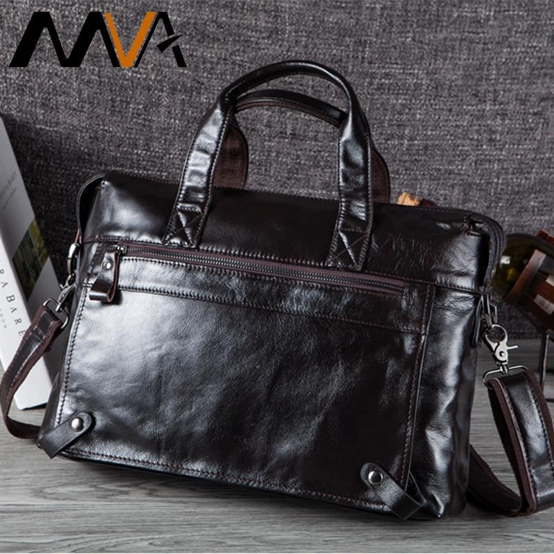 MVA Men Briefcases Genuine Leather Bags Men Briefcase Handbags Office Bags For Men's Bag Leather Laptop Bag Business Briefcases-in Briefcases from Luggage & Bags
