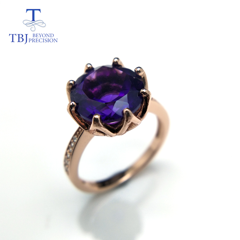 TBJ Royal Ring with natural african amethyst in fine Jewelry 925 sterling silver rose color women