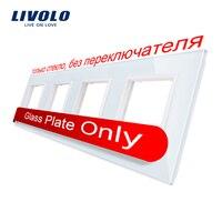 Livolo Роскошный белый хрустальный стеклянный переключатель панель, 294 мм * 80 мм, стандарт ЕС, четырехместный стеклянная панель для настенного ...