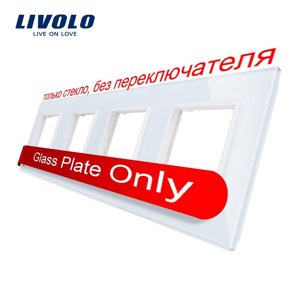 Livolo blanco de lujo cristal interruptor Panel 294mm * 80mm de la UE estándar habitación cuádruple de Panel de vidrio de pared hembra C7-4SR-11