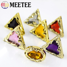 Meetee 20pcs 27mm/18*25mm Plastic Acrylic Button Retro Rhinestone Decorative Buckle DIY Bag Garment Craft Sewing Accessories
