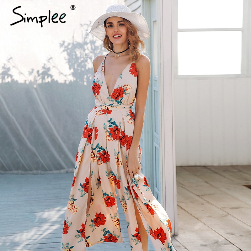 Detail Feedback Questions about Simplee Sexy v neck backless print jumpsuit  romper women Lace up halter high waist short overalls Split wide leg summer  ... fbbfc3e366c4