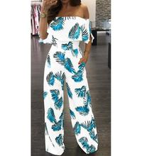 Hot Jumpsuits Women Clubwear Short Sleeve Playsuit Sexy Floral Print Rompers Womens Jumpsuit Long Trousers Pants