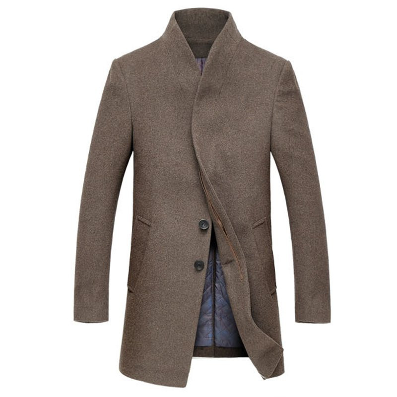 2019 New Winter Men Warm Coat Jacket Plus Size Long Solid Wool Coat Casual Fashion Men Overcoat Thick Coats Windproof Outwear