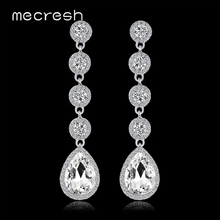 Mecresh Simple Teardrop Crystal Long Dangle Earrings Wedding Engagement Jewelry Minimalist Bridal Drop for Women EH1512