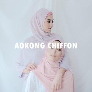 Image 3 - One piece women solid plain bubble chiffon hijab scarf wraps soft long islam foulard shawls muslim georgette scarves hijabs