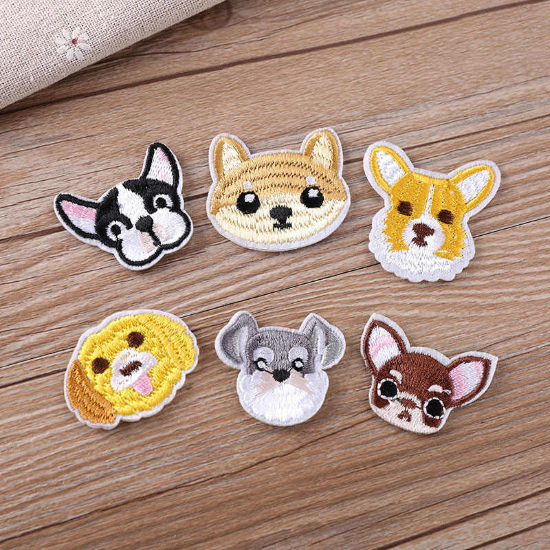 1Pcs Dog Embroidery Patch Heat Transfers Iron On Sew On Patches for DIY Clothes T-shirt Cloth Sticker Decorative Appliques 47216