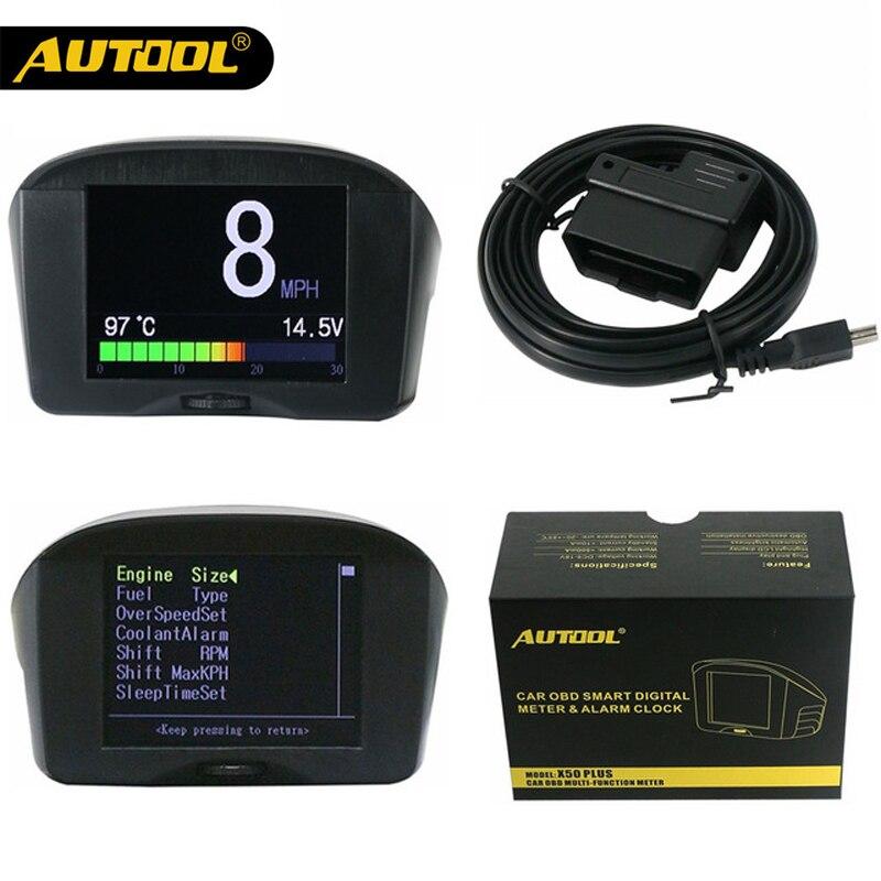 AUTOOL 2.4'' Multi Function Car OBD Smart Digital Meter & Alarm Fault Code Water temperature gauge voltage speed meter display