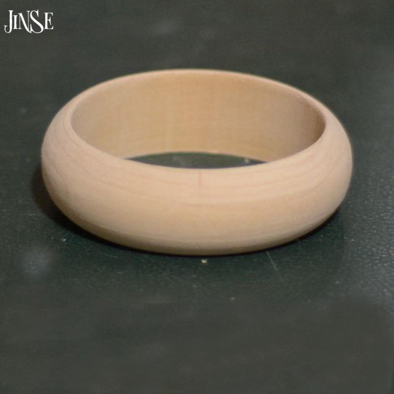 JINSE 100Pcs Big Round DIY Unfinished Wooden Bangles Wood Bracelet Jewelry WOD053 100