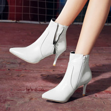 New Women Chelsea Boots Fashion Ladies Ankle Short Boots Big Size 36-45 High Heels Shoes High Quality Leather Zipper Yasilaiya