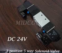Valvula 4V230C 08 DC24V superior Solenoid Valve,5 port 3 position solenoid valve double coil for gas