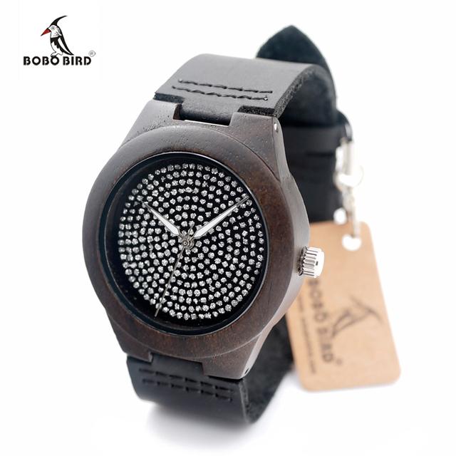 Nueva marca de lujo bobo bird mujeres madera reloj rhinestone hombres mujeres niñas reloj pulsera reloj del relogio feminino