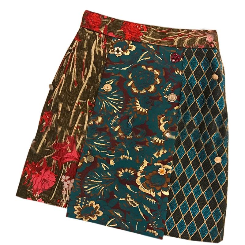 Jupe femme SexeMara Vintage jacquard faldas vaqueras mujer verano jupe Patchwork faldas mezclilla jupe droite