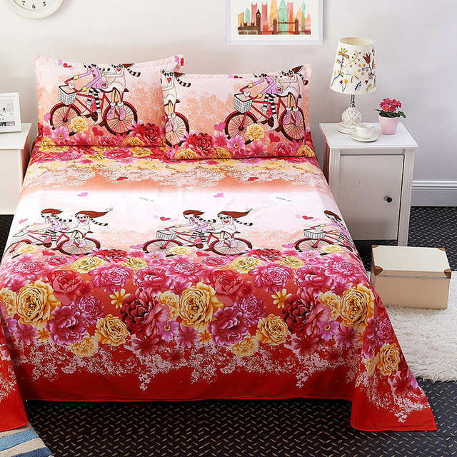 Fort Hope Bedding Sheet Cotton Bedsheet Home Textile Printing Flat Sheets Combed Cotton Bed Sheet+1/2 Free Pillow Cover 74*48cm