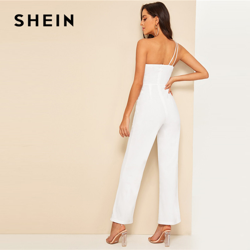 SHEIN Glamorous Double Strappy One Shoulder Wide Leg Jumpsuit Women Elegant White Jumpsuit Sleeveless High Waist Summer Jumpsuit 2