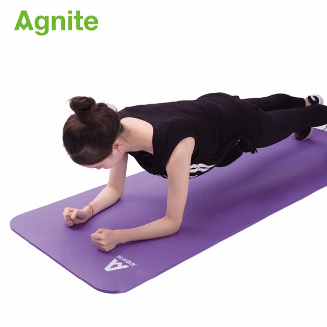 Agnite 4174 professional slip-proof NBR yoga mat 10mm for fitness cushion quality gymnastics exercise matress sport carpet strap