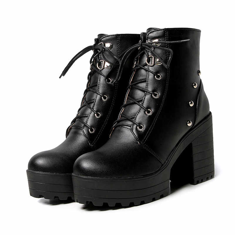 YMECHIC Lace Up Cross Tied Platform High Heels Ankle Boots for Women White Black Blue Block Heel Shoes Punk Gothic Combat Boots