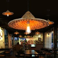 dish restaurant, restaurant, farmhouse, straw hat, bamboo hat, chandelier, Chinese style Southeast Asian bamboo lamps