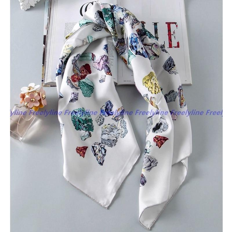 100% Silk Twill Scarf Bandana Hijab Square Silk Scarf Women 90 Fashion Silk Scarves & Wraps Shawl Cape