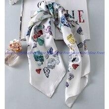 Bufanda de sarga de seda para mujer, pañuelo cuadrado de seda, hiyab, moda de los 90, chal, capa