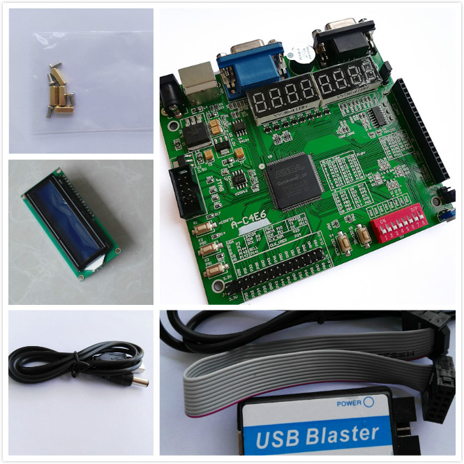 A-C4E10 EP4CE10E22C8N+ USB BLASTER+LCD1602 altera fpga board altera board altera fpga development board xilinx fpga development board xilinx spartan 3e xc3s250e evaluation board kit lcd1602 lcd12864 12 modules open3s250e package b