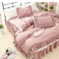 100%cotton princess ruffles bedding set twin full queen king size solid color Korean lace embroidery bed skirt free shipping YYX