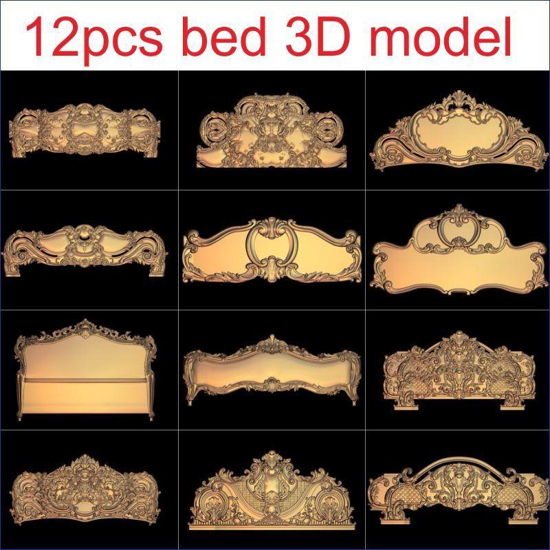 12pcs/set Bed 3D Model STL Relief For Cnc STL Format Furniture 3D STL Format Furniture Decoration